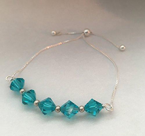 Blue Swarovski Crystal Beaded Adjustable Slider Bolo Sterling Silver Bracelet ()