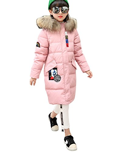 Menschwear Girl's Down Jacket Hooded Winter Warm Outwear Thicker Down Jacket (140,Pink) by Menschwear