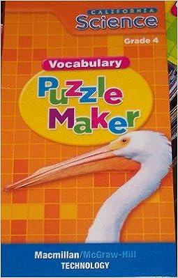 California Science: Vocabulary Puzzle Maker Grade 4