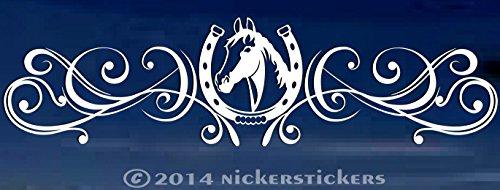 Horse Shoe Head Flourish for Rear Window - Truck Car Decal Sticker - 6