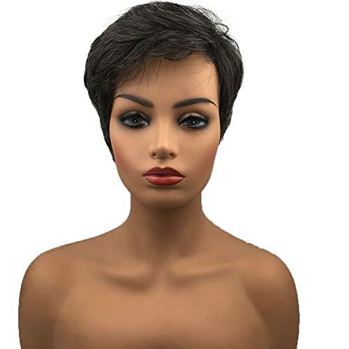 Wiginway Short Dark Brown Mixed Gray Natural Straight Wigs Pixie Cut Hair Wig Layered Ladies Synthetic Wig -