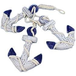 "Hampton Nautical Wooden Rustic Blue Triple Anchor Set, 7"""