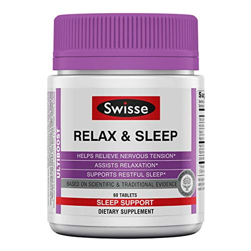 Swisse Ultiboost Relax & Sleep Supplement | Herbal Based Bedtime Sleep Aid | Magnesium, Lemon Balm, Passionflower | 60 Tablets