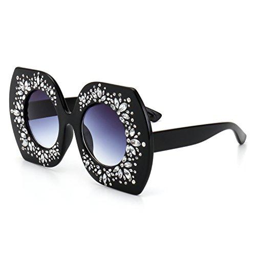 ROYAL GIRL Retro Designer Women Sunglasses Oversized Crystal Rhinestone Fashion Shades (Black-Gray, - Shades Rhinestone