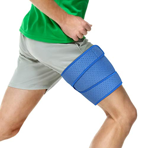 Thigh Brace Support Hamstring Wrap, Compression Sleeve with Anti-Slip Strip Support Thigh Quad Sprains, Tendonitis, Strains, Pulled Muscle Injury Rehab and Recovery, Fits Men and Women (Blue) - Groin Pad Female