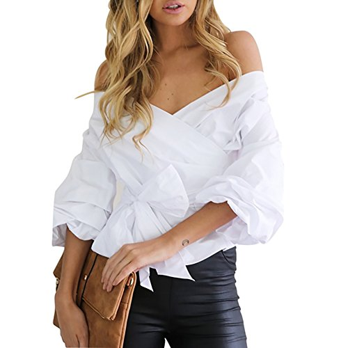 iBaste Women Casual V Neck Solid Bow Knotted Party Shirt Blouse Tops
