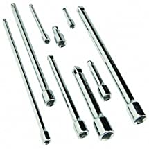 "9 Piece 1/4"", 3/8"" and 1/2"" Drive Wobble Socket Extensions with High Visibility Markings and Triple Chrome Plated"