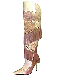 Wild Rose Spiro-P Women's Over The Knee leather/python patches High Heel Boots