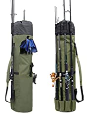 Powcan Borsa da Pesca Cassa da Pesca Oxford Alta capacità Fishing Pole Carry Organizer Borsa per Attrezzi da Pesca