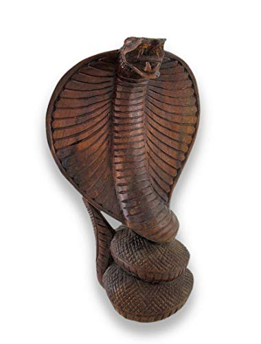- Hand-Carved Wooden King Cobra Sculpture Statue