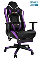 Ficmax Purple Gaming Chair High-Back Ergonomic Computer Chair Racing Gaming Chair PU Leather E-Sports Chair PC Chair for Gaming Height Adjustable Gaming Desk Chair with Massage Lumbar support Footrest