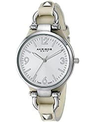 Akribos XXIV Womens AK761TN Swiss Quartz Movement Watch with Silver Engraved Sunburst Dial and Beige Calfskin...