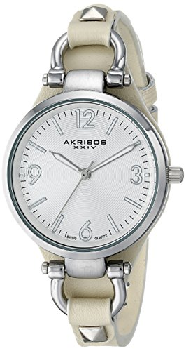 Akribos XXIV Women's AK761TN Swiss Quartz Movement Watch with Silver Engraved Sunburst Dial and Beige Calfskin Leather Strap