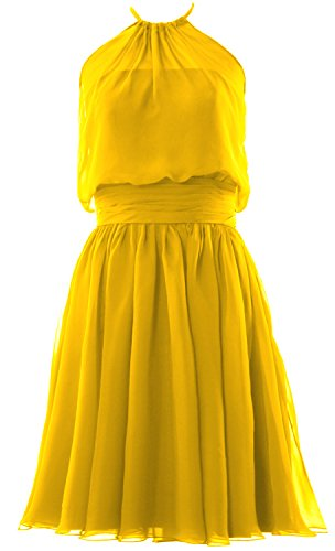 MACloth Women Halter Chiffon Short Bridesmaid Dress Cocktail Formal Party Gown Amarillo