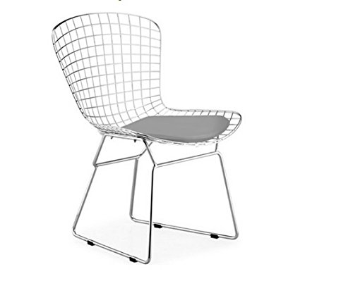 (Bertoia Style Wire Side Dining Chair In Chrome Finish (Grey Seat Pad))