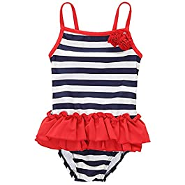 CharmLeaks Kids Girls Ruffle One Piece Swimming Costume Striped Skirted Swimsuit, Stripe, 18-24 Months