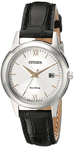 Price comparison product image Citizen Women's FE1086-04A Eco-Drive Stainless Steel Watch with Black Leather Band