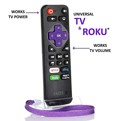 Universal IR Roku Express Remote with Volume Roku/TV Streaming 2-in-1 Remote Control with Learning - Works for Roku + TV with Volume/Power Keys for TVs & Roku TVs [NOT for ROKU Sticks]