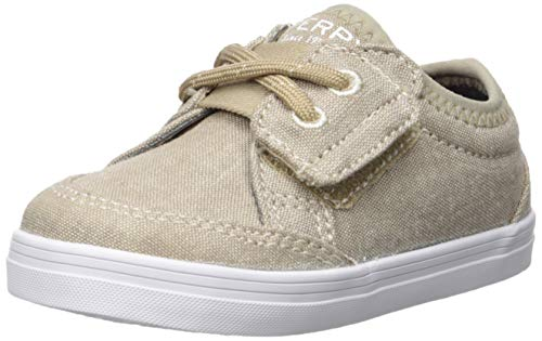 - Sperry Boys' Deckfin Crib Jr Sneaker, Khaki Chambray, 3 Medium US Infant