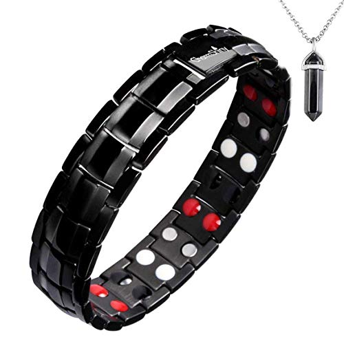 Double Strength Titanium Magnetic Therapy Bracelet Dual Row 6 Bio Elements Energy Balance for Mens Arthritis Relief Pain Carpal Tunnel + Hematite Pendant Necklace