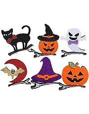 6st Halloween hårspännen Fabric pumpa Ghost Hat Design hår klipp hårspänne för flickor Daily bära Party dekoration, Hårspänne