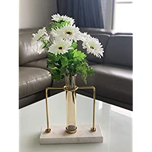 Fourwalls Beautiful Decorative Artificial Garabara Flower Bunches for Home decor (48 cm Tall, 10 Heads, White)