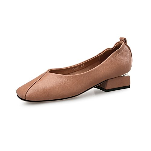 T-JULY Penny Loafers Shoes For Women - Casual Slip On Low-Heel Square Toe Brogue Apricot