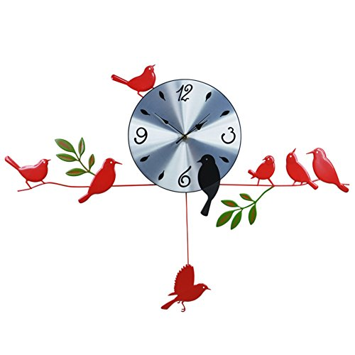 Mute Bird Wall Clock,Creative Wrought Iron Decorative Wall Clock for Living Room Dining Rooms Porch Modern Clock-red 10inch ()