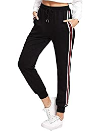 255bd56e12e8 Orangeskycn Women's Sweatpants Drawstring High Waist Stripe Harem Pants