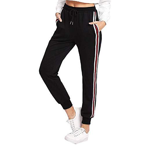 (Orangeskycn Women's Sweatpants Drawstring High Waist Stripe Harem Pants Black)