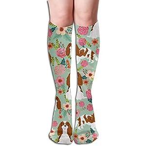 Cavalier King Charles Spaniel Dog Florals Cute Dog Design Mint Unisex Knee High Long Socks Over Calf Casual Sport Stocking 1