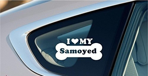 I Love My Samoyed Dog Bone Puppy Symbol White Vinyl Car Sticker Symbol Silhouette Keypad Track Pad Decal Laptop Skin Ipad Macbook Window Truck Motorcycle, Decal Sticker Vinyl Car Home Truck Window Laptop (Samoyed Silhouette Dogs)