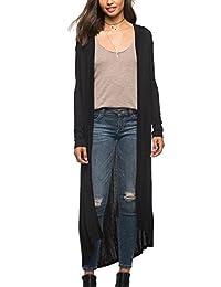 YACUN Women Long Sleeve Asymmetric Drape Open Long Maxi Cardigan