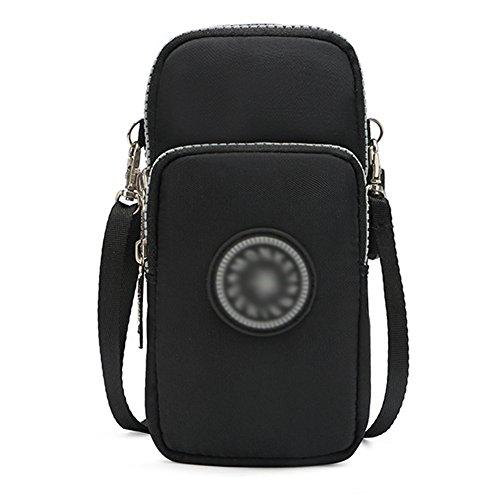 Babyprice 3-Layers Zipper Cellphone Pouch Running Armband Wristlet Purse Nylon Crossbody Bag