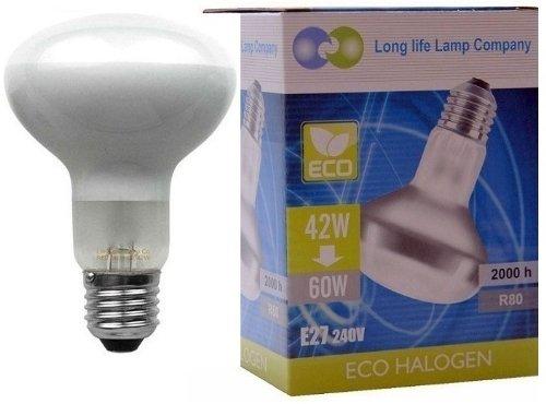 2 x Eco Energy Saving R80 Reflector Equivalent 60w Spot Light Bulb ES E27 Screw Fit Halogen Eco 42w = 60W Long Life Lamp Company