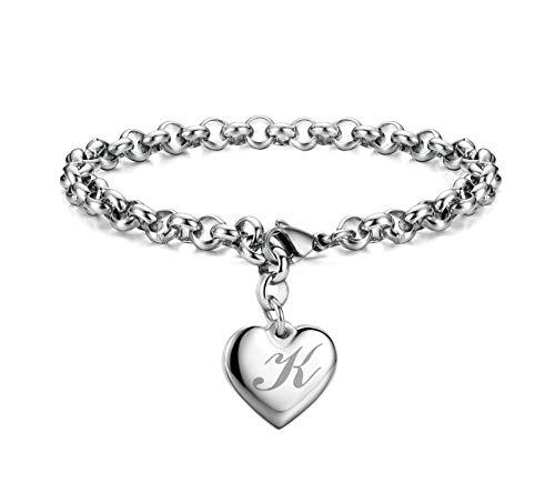 Monily Initial Charm Bracelets Stainless Steel Heart Letters K Alphabet Bracelet for Women