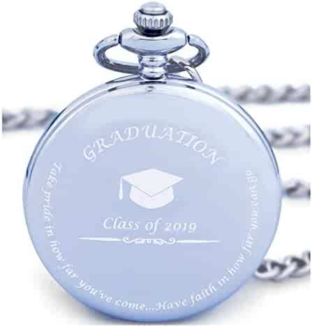 Graduation Gifts for Him - Pocket Watch - Engraved 'Class of 2019' – Perfect College / High School Graduation Gift or Present for Son | Him in 2019