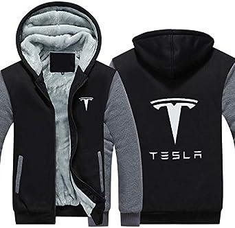 Tesla Hommes Hoodies Hiver Manteau De Voiture Veste Hommes Casual Laine Doublure Polaire À Capuche Épaissir Tesla Logo Shirts Sweat à Capuche
