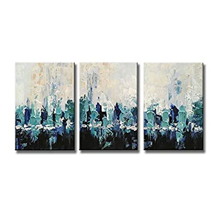 Hand Painted Wall Art Blue Scenery Abstract Oil Painting On Canvas Modern Home Decoration For Living