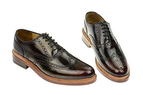 Gordon y Bros Levet 2506S, marco cosida para hombre de centro de zapatos/zapatos de cordones (Derby/acento irlandés) con suela de rojo - granate