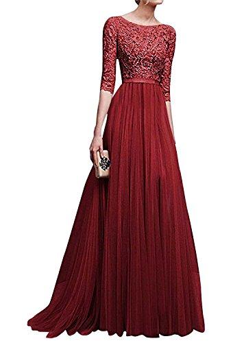 Minetom Mujer Vestidos De Noche Fiesta Elegante Largos Bodas Vestido De Gasa Atractivo 3/4 Mangas Maxi Dress Atractivo Vino Rojo