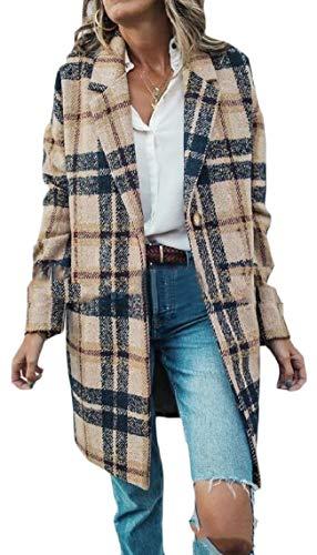 (Jmwss QD Womens Casual Plaid Loose Wool Blend Coat Overcoat XL)