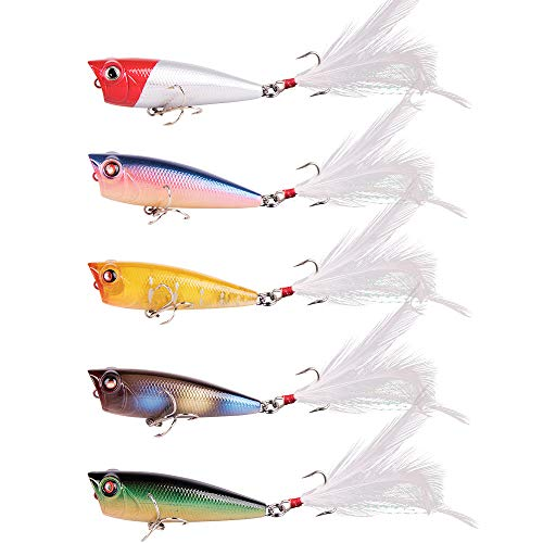 Alwonder 5pcs Topwater Popper Fishing Lures Kit 1/4oz 2.4