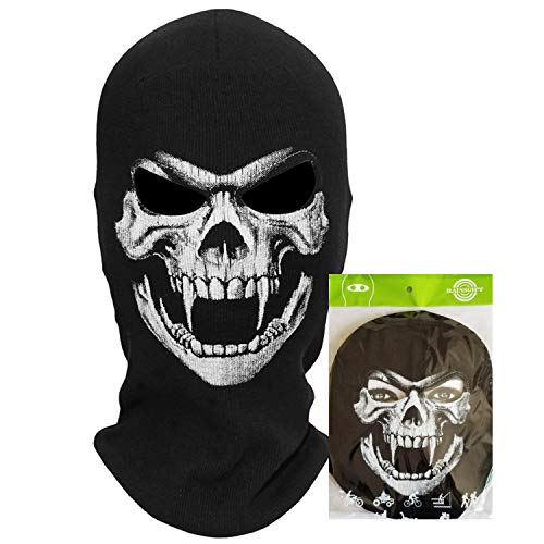 teemerryca Ski Balaclava Full Face Mask Black for Men Winter Motorcycle Balaclava Cold Weather Skull Balaclava for Halloween Cosplay -