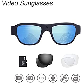 Video Sunglasses, 16GB 1080P HD Outdoor Sports Action Camera with Built in 15MP Camera and Polarized UV400 Lens, Compatible with Prescription Lens and ...