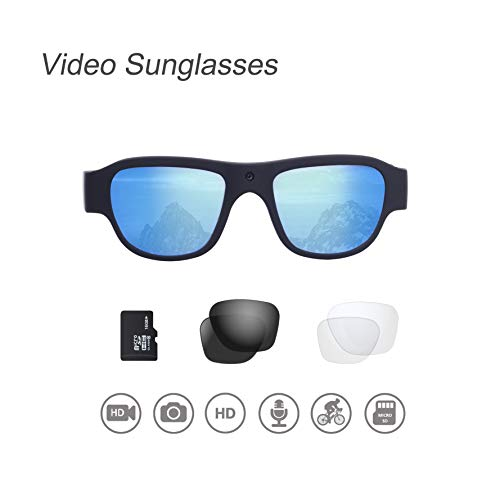 Video Sunglasses, 16GB 1080P HD Outdoor Sports Action Camera with Built in 15MP Camera and Polarized UV400 Lens, Compatible with Prescription Lens and Interchangeable ()