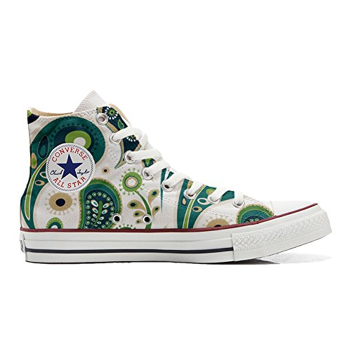 Converse All Star Zapatos Personalizados Unisex (Producto Artesano) White Green Paisley 1