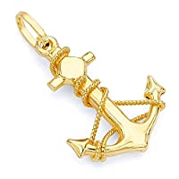 14k REAL Yellow Gold Anchor Charm Pendant