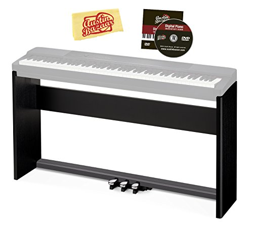 Casio CS-67 Keyboard Stand for PX-150/PX-160/PX-350/PX-360/PX-560 Bundle with Casio SP-33 Pedal System, Austin Bazaar Instructional DVD, and Polishing Cloth - Black