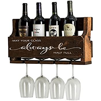 Del Hutson Designs The Little Elm Wine Rack W/Quote U0027May Your Glass Alway  Be Half Full, USA Handmade Reclaimed Wood, Wall Mounted, 4 Bottle 4 Long  Stem ...